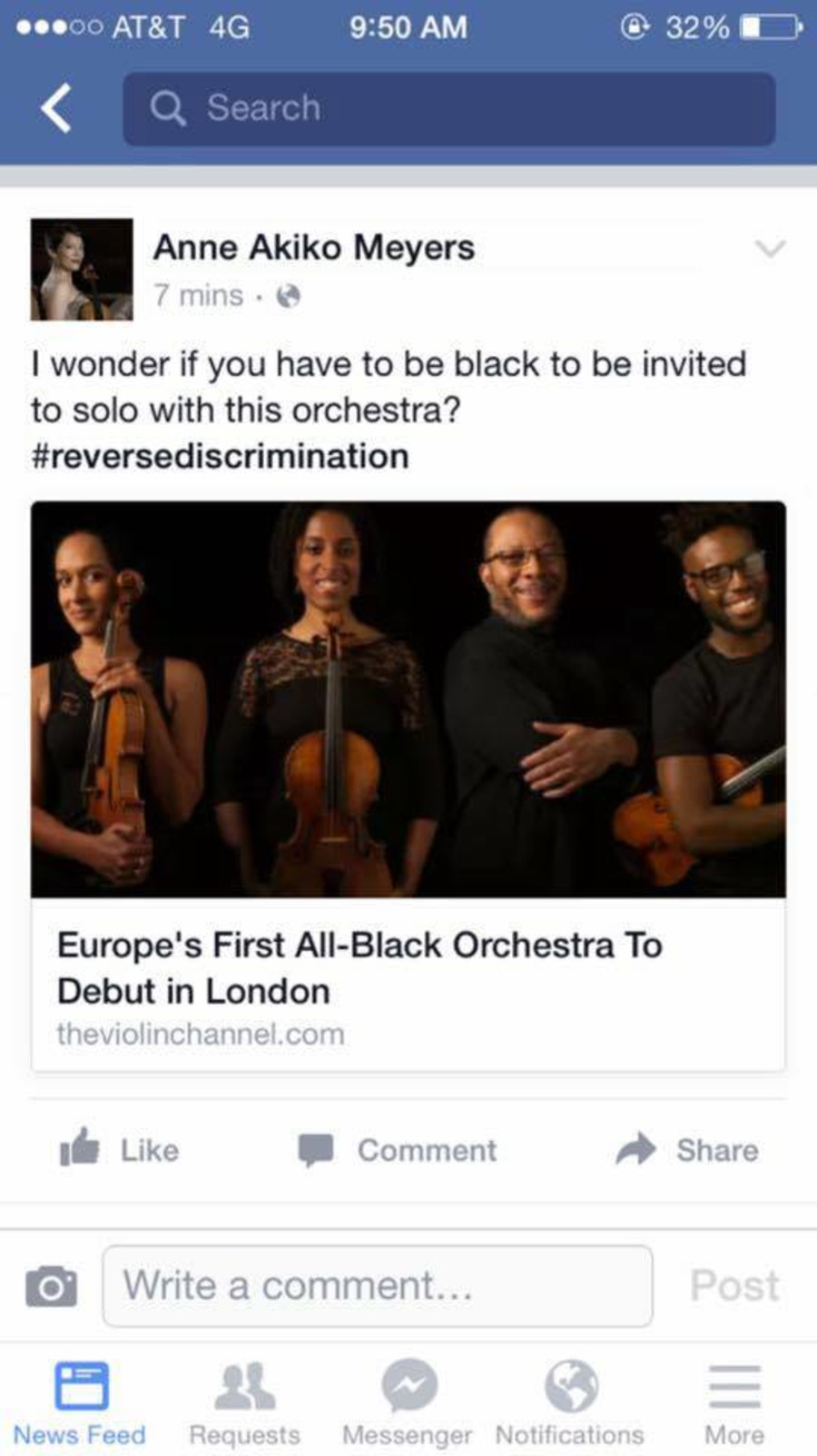 the text reads: I wonder if you have to be black to solo with this orchestra? #reversediscrimination